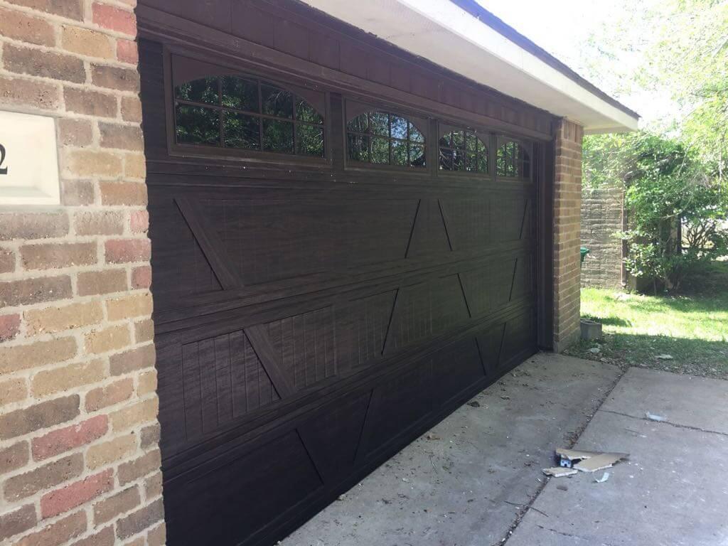 wooden two car garage door